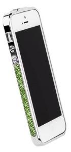 Бампер металлический Newsh для iPhone 5 со стразами зелеными