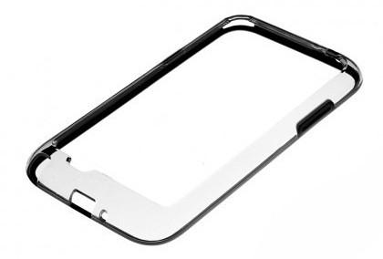Бампер для Samsung Galaxy Note II N7100 прозрачный с черной вставкой