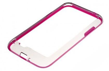 Бампер для Samsung Galaxy Note II N7100 прозрачный с розовой вставкой