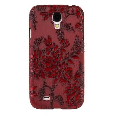 Накладка для Samsung Galaxy S4 i9500/ i9505 с объемными цветочками красная