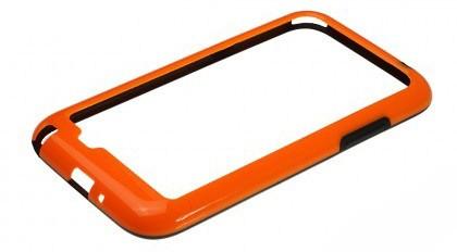 Бампер для Samsung Galaxy Note II N7100 оранжевый с чёрной вставкой