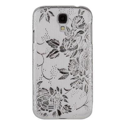 Накладка для Samsung Galaxy S4 i9500/ i9505 с объемными цветочками серебристая