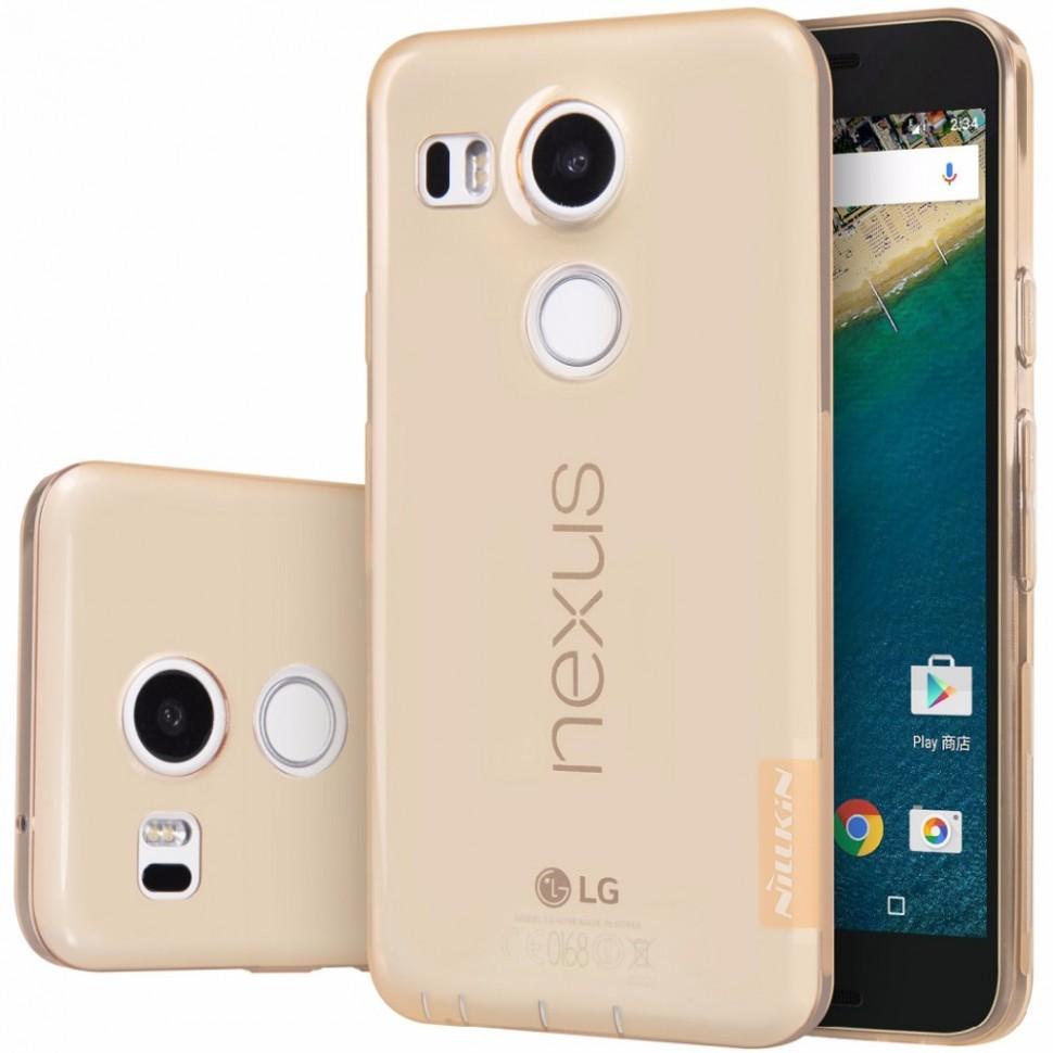 Накладка Nillkin Nature TPU Case силиконовая для LG Nexus 5X прозрачно-золотая