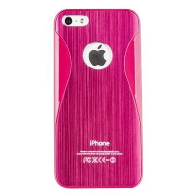 Накладка R PULOKA для iPhone 5 металлическая с зигзагами с двух сторон ярко-розовая