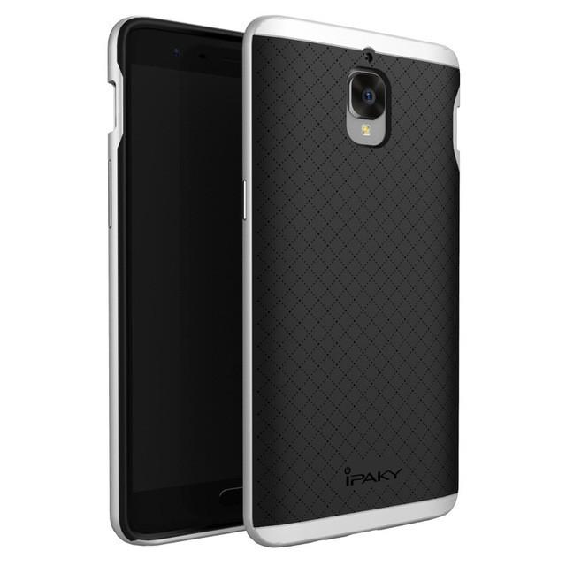 Накладка Hybrid силикон + пластик для OnePlus 3/3T серебристая