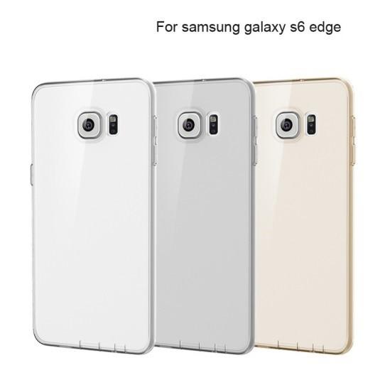 Накладка силиконовая для Samsung Galaxy S6 edge SM-G925 прозрачно-золотая
