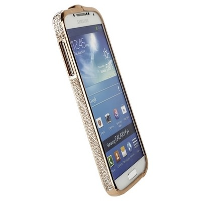 Бампер металлический Newsh для Samsung Galaxy S4 i9500/ i9505 со стразами бронзовый