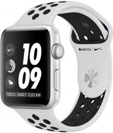 Apple Watch Series 3 42mm Silver Aluminum Case with Nike Pure Platinum/Black Band (MQL32) Серебристый/чистая платина/черный