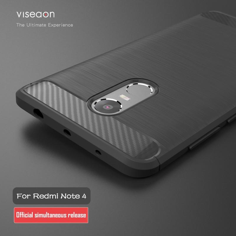Накладка силиконовая для Xiaomi Redmi Note 4 под карбон и сталь серая