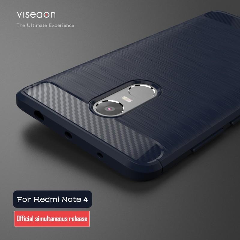 Накладка силиконовая для Xiaomi Redmi Note 4 под карбон и сталь синяя