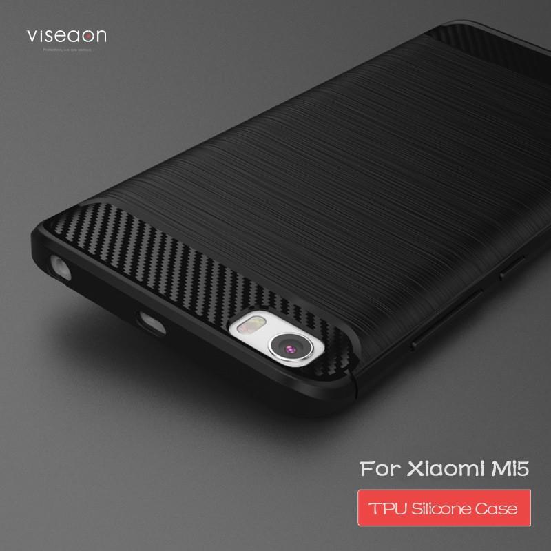 Накладка силиконовая для Xiaomi Mi5 черная под карбон и сталь