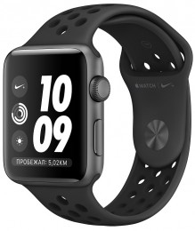 Apple Watch Series 3 38mm Space Gray Aluminum Case with Nike Anthracite/Black Sand Sport Band (MTF12) Серый космос/Антрацитовый/Черный