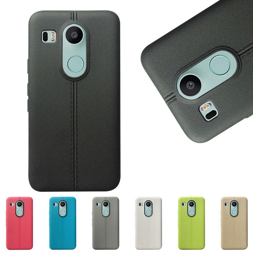Накладка силиконовая под кожу для LG Nexus 5X черная