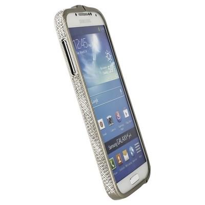 Бампер металлический Newsh для Samsung Galaxy S4 i9500/ i9505 со стразами серебряный матовый