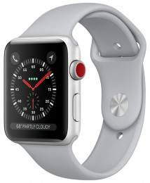 Apple Watch Series 3 Cellular 42mm Silver Aluminum Case with Fog Sport Band (MQK12) Серебристый Дымчатый
