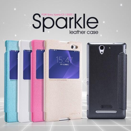 Чехол Nillkin Sparkle для Sony Xperia C3 розовый