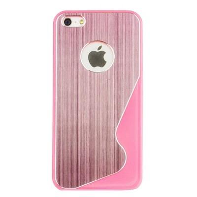 Накладка R PULOKA для iPhone 5 металлическая с зигзагами с одной стороны розовая
