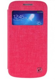 Чехол HOCO Leather Case Star Series для Samsung Galaxy S4 mini малиновый с окном