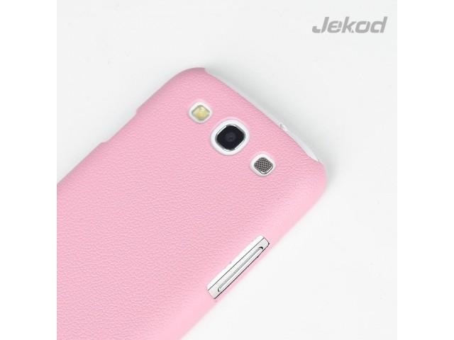 Накладка Jekod пластиковая для Samsung Galaxy S3 i9300 под кожу розовая + пленка