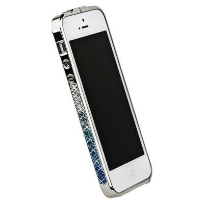 Бампер металлический Newsh для iPhone 5 со стразами синими