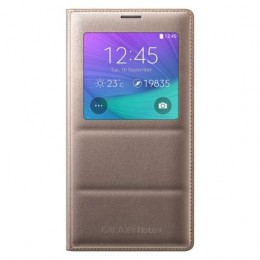 Чехол Flip Cover S-View для Samsung Galaxy Note 4 N910 золотой