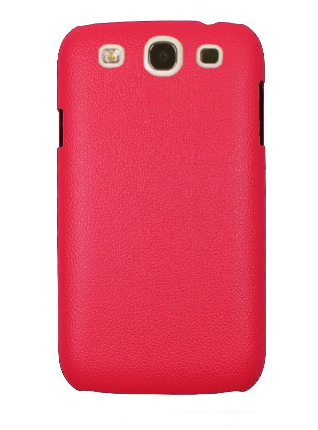 Накладка Jekod пластиковая для Samsung Galaxy S3 i9300 под кожу малиновая + пленка