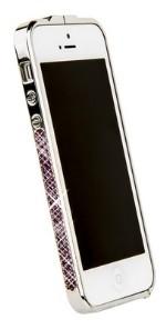 Бампер металлический Newsh для iPhone 5 со стразами сиреневыми