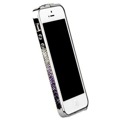 Бампер металлический Newsh для iPhone 5 со стразами фиолетовыми