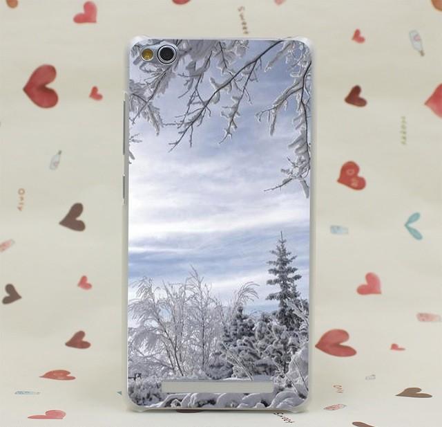 """Накладка пластиковая для Xiaomi Redmi 3 Pro с рисунком """"Деревья в снегу"""""""