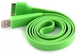 USB кабель плоский для iPad/iPhone/iPod зеленый