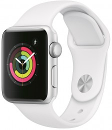 Apple Watch Series 3 38mm Silver Aluminum Case with White Sport Band (MTEY2) Серебристый/Белый