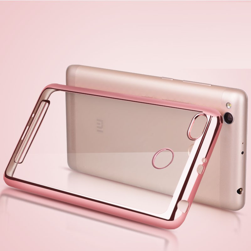 Накладка KissWill силиконовая для Xiaomi Redmi 3 Pro прозрачная с розовой окантовкой