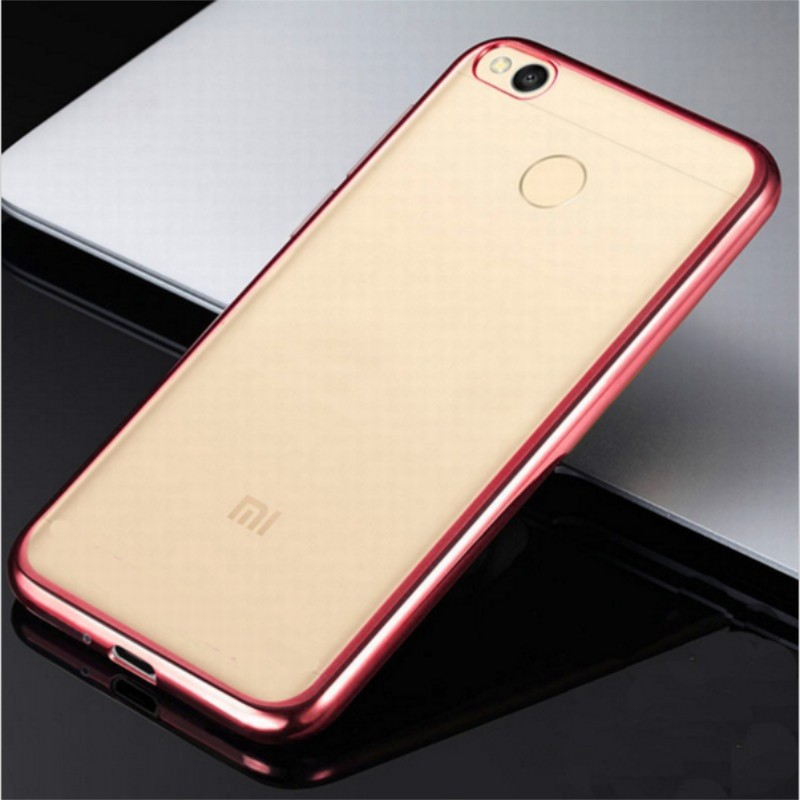 Накладка KissWill силиконовая для Xiaomi Mi Max прозрачная с розовой окантовкой