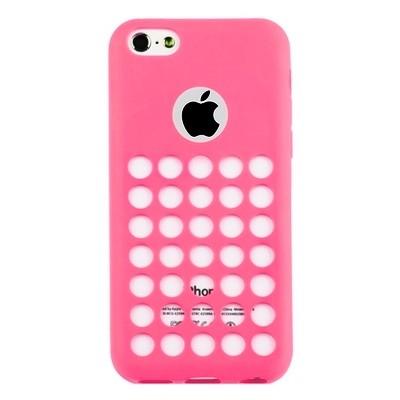 Накладка силиконовая TPU для iPhone 5C с перфорацией розовая