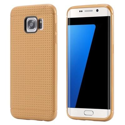 Накладка силиконовая с точками для Samsung Galaxy S7 Edge SM-G935 коричневая