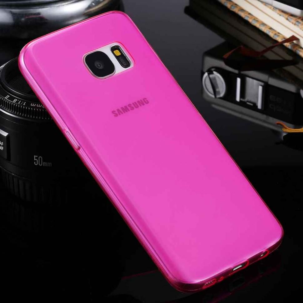 Накладка силиконовая для Samsung Galaxy S7 SM-G930 прозрачно-розовая