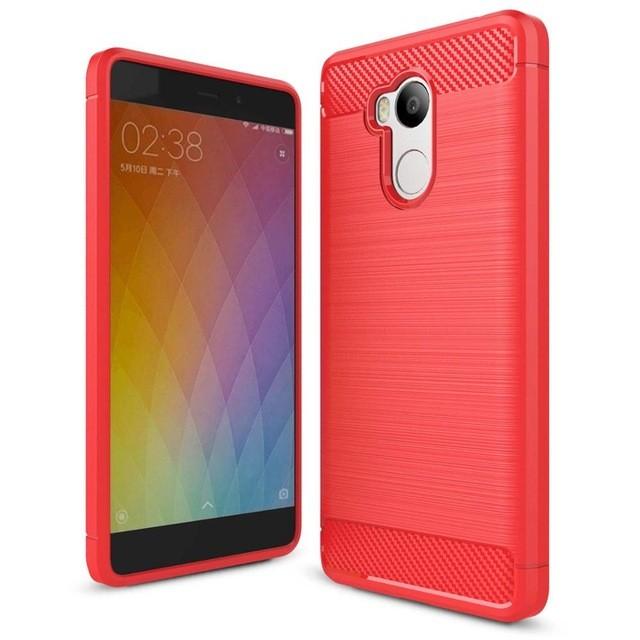 Накладка силиконовая для Xiaomi Redmi 4 Pro (32Gb) под карбон и сталь красная