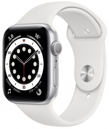 Apple Watch Series 6 GPS 44mm Aluminum Case with Sport Band Серебристый/Белый (M00D3)