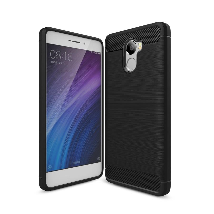 Накладка силиконовая для Xiaomi Redmi 4 (16Gb) под карбон и сталь черная