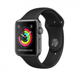 Apple Watch Series 3 42mm Space Gray Aluminum Case with Black Sport Band (MTF32) Серый космос/Черный