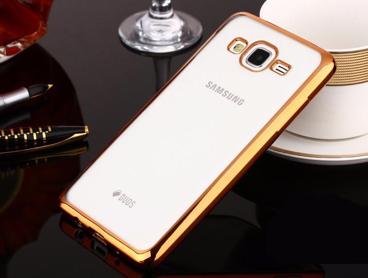 Накладка KissWill силиконовая для Samsung Galaxy J3 (2016) J310 прозрачная с золотистой окантовкой