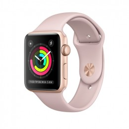 Apple Watch Series 3 38mm Gold Aluminum Case with Pink Sand Sport Band (MQKW2) Золотистый/Розовый песок