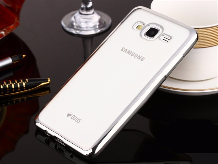 Накладка KissWill силиконовая для Samsung Galaxy J3 (2016) J310 прозрачная с серебристой окантовкой