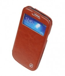 Чехол HOCO Leather Case Crystal View для Samsung Galaxy S4 i9500/9505 Brown с окном