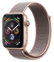 Apple Watch Series 4 GPS 44mm Gold Aluminum Case with Pink Sport Loop (MU6G2) Золотистый/Розовый песок