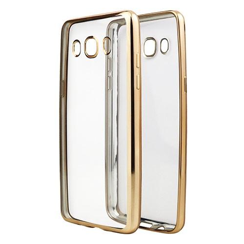 Накладка KissWill силиконовая для Samsung Galaxy J5 (2016) J510 прозрачная с золотистой окантовкой
