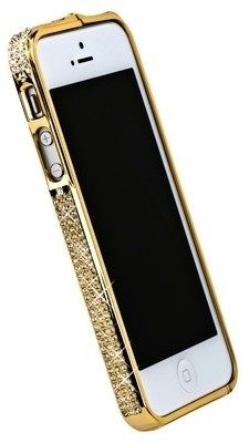 Бампер металлический для iPhone 5 со стразами золотистый
