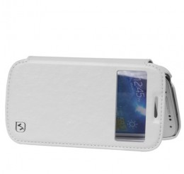 Чехол HOCO Leather Case Crystal View для Samsung Galaxy S4 mini i9190/9192/9195 White с окном