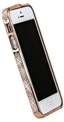 Бампер металлический для iPhone 5 со стразами розовый