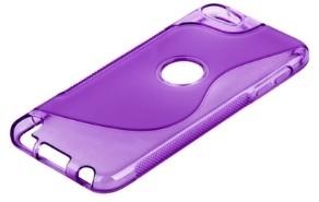 Накладка силиконовая для iPod touch 5 с отверстием под яблоко фиолетовая